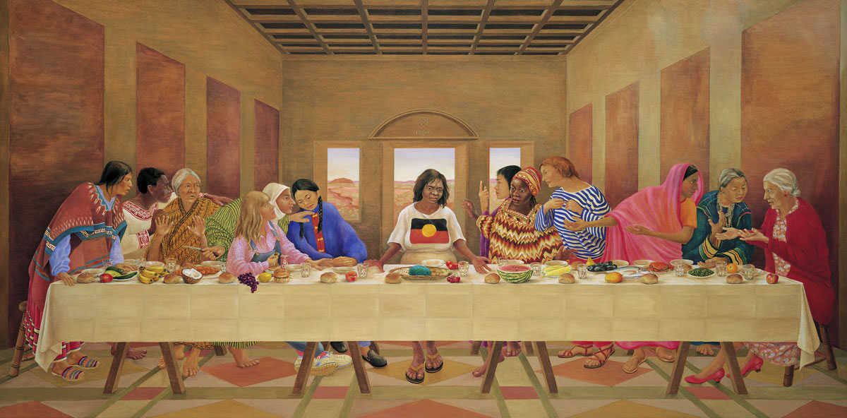 The First Supper, acrylic painting on panel by artist Susan Dorothea White
